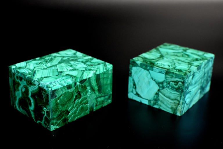 Pair of Natural Malachite Boxes, Full Slab Gemstone Box In Excellent Condition For Sale In Somis, CA