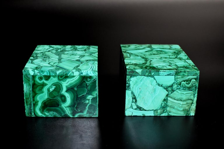 Contemporary Pair of Natural Malachite Boxes, Full Slab Gemstone Box For Sale