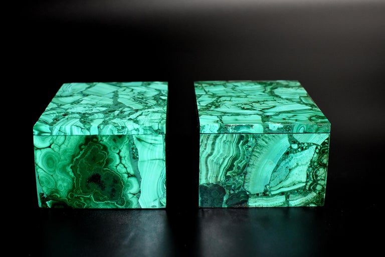 Pair of Natural Malachite Boxes, Full Slab Gemstone Box For Sale 1
