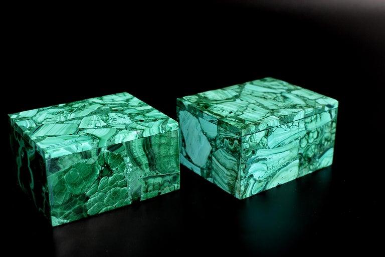 Pair of Natural Malachite Boxes, Full Slab Gemstone Box For Sale 3