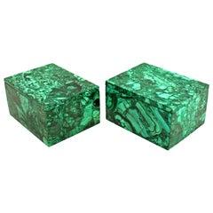 Pair of Natural Malachite Boxes Full Slabs