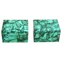 Pair of Natural Malachite Boxes in Full Slabs