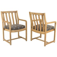 Pair of Natural Oakwood Armchairs, 1950s