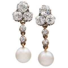 Pair of Natural Pearl and Diamond Drop Earrings