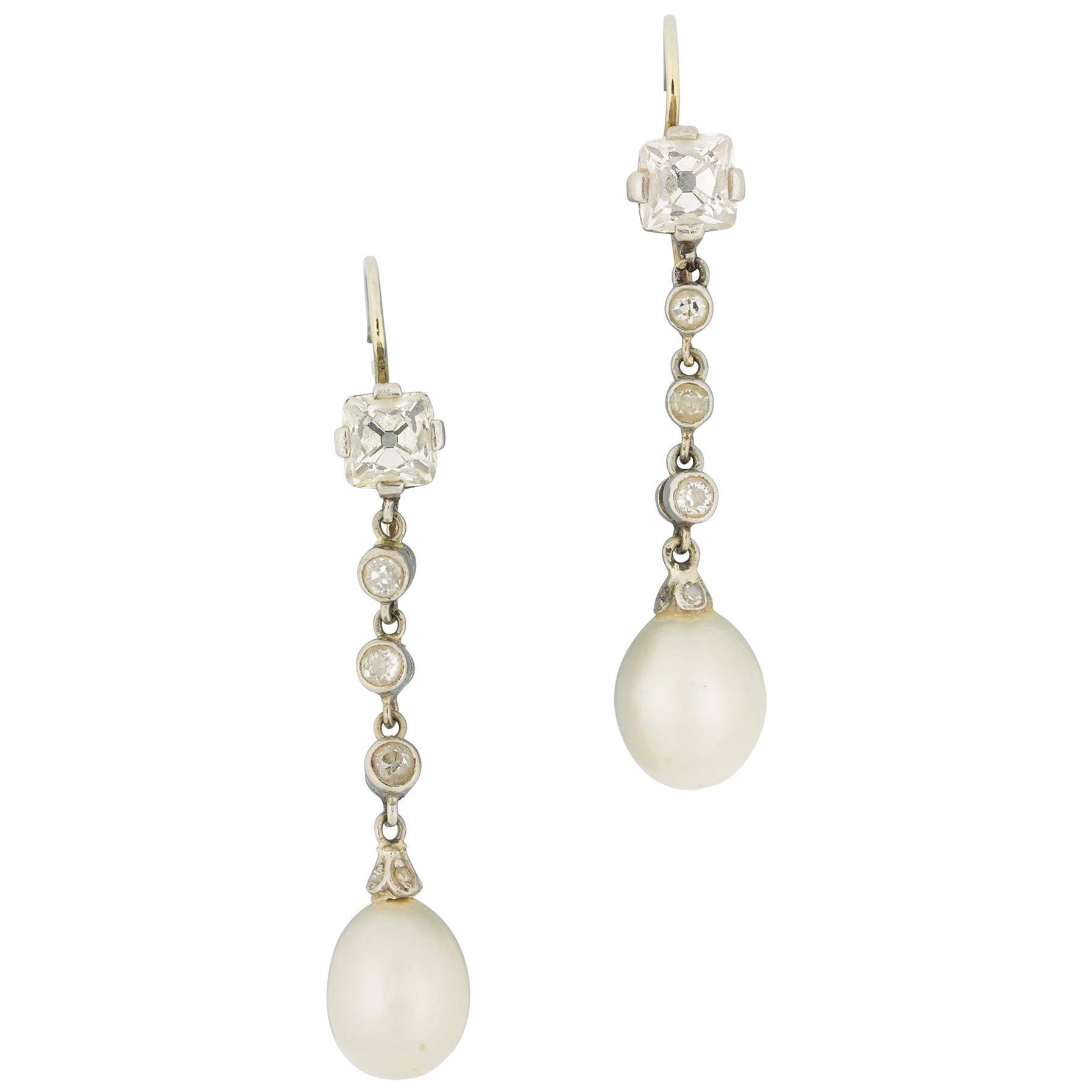 Pair of Natural Pearl and Diamond Ear Pendants