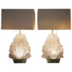 Pair of Natural Rock Crystal Lighting, Demian Quincke