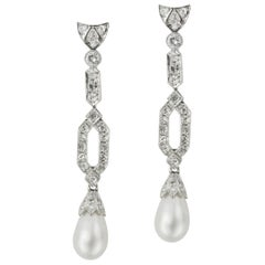 Pair of Natural Saltwater Pearl and Diamond Drop Earrings