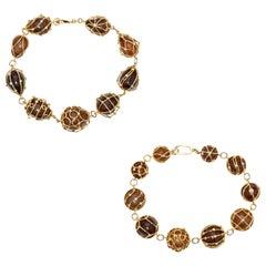 Pair of Natural Saltwater Pearl Bracelets in 18 Karat Yellow Gold Bracelets