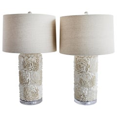 Pair of Natural Sea Shell Lamps with Linen Shades