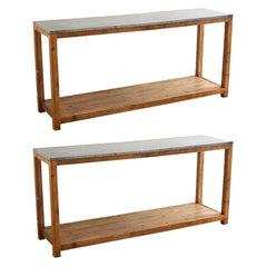Pair of Natural Stone Top Pine Console Tables