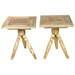 Pair of Natural Teak End Tables