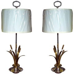 Pair of Naturalist Motif Silver/Brass Table Lamps