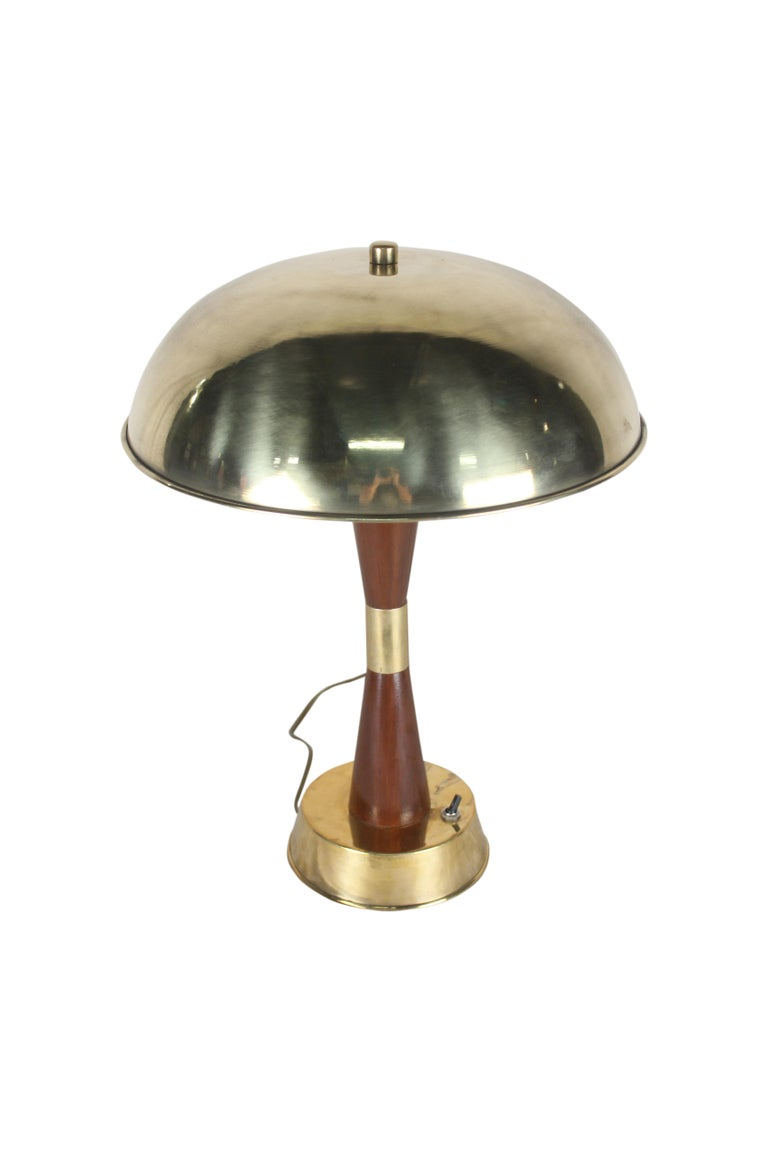 Pair of Nautical Brass and Teak Table Lamps from Ship's Stateroom In Good Condition In Nantucket, MA