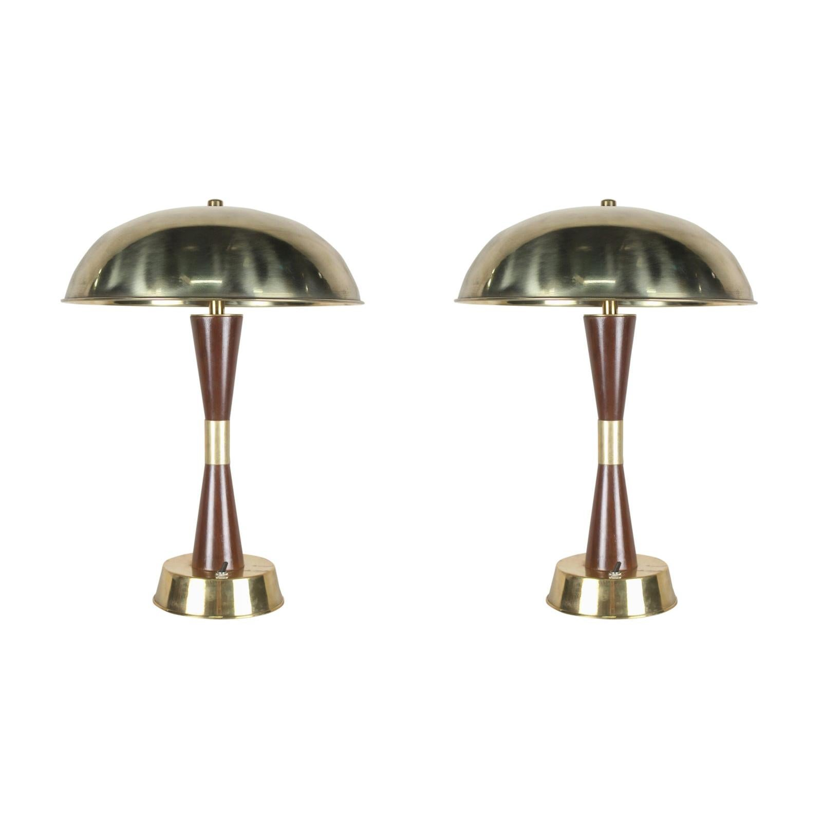 Pair of Nautical Brass and Teak Table Lamps from Ship's Stateroom