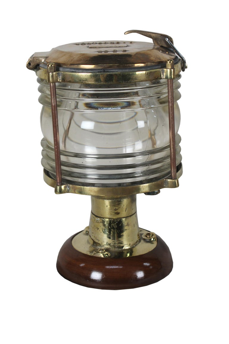 Industrial Pair of Nautical Brass Ship's Post Lights, 1970s For Sale