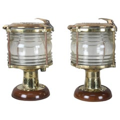 Pair of Nautical Brass Ship's Post Lights, 1970s