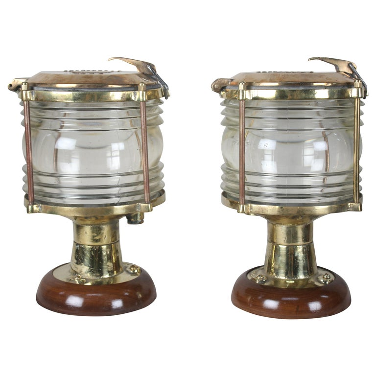 Pair of Nautical Brass Ship's Post Lights, 1970s For Sale