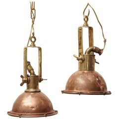 Pair of Nautical Copper and Brass Pendant Light Lanterns