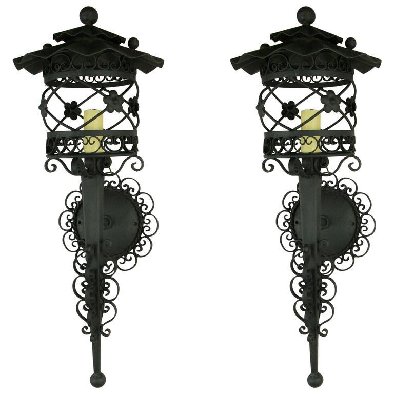 Early 20th Century  Pair of French Scrolled Lantern Sconces, 1920s For Sale