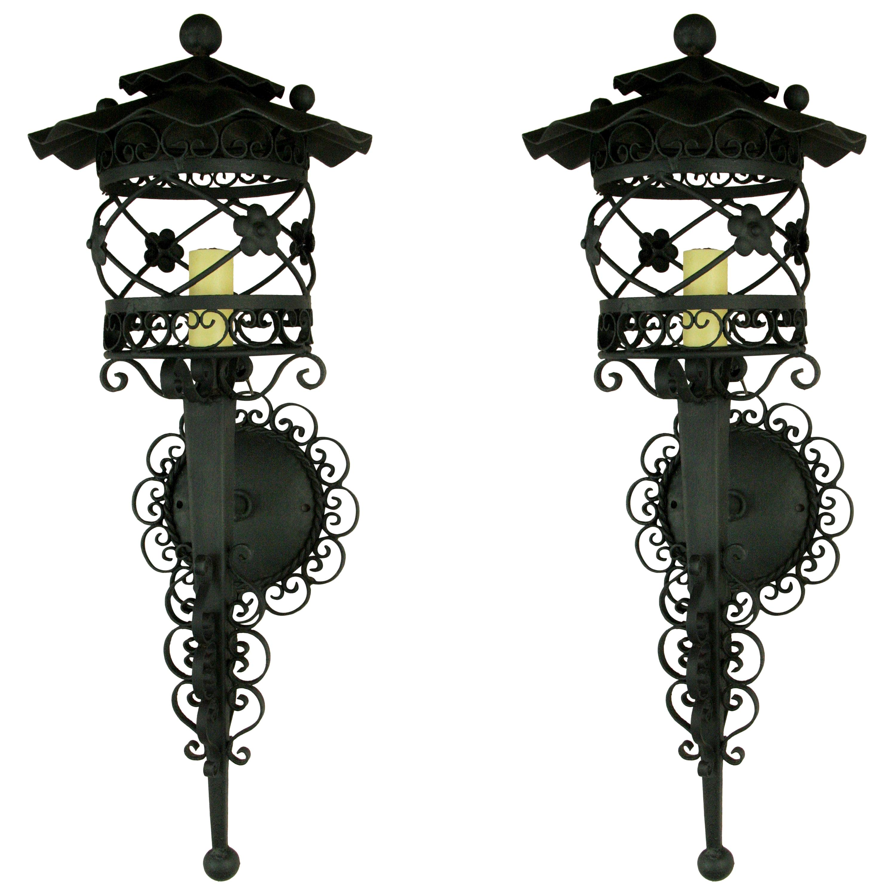 Pair of French Scrolled Lantern Sconces, 1920s