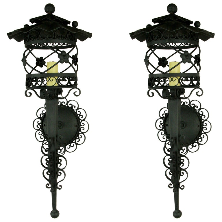 Pair of French Scrolled Lantern Sconces, 1920s For Sale