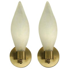 Pair of Mid Century  Frosted Glass Leaf Sconces