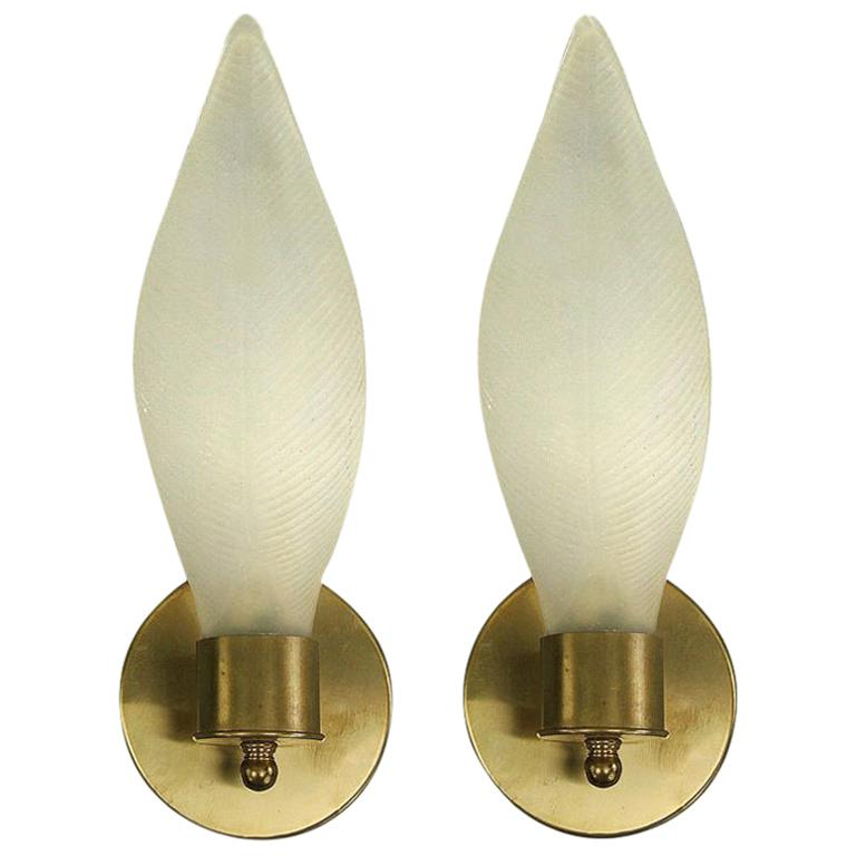 Pair of Mid Century  Frosted Glass Leaf Sconces For Sale
