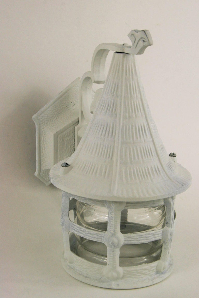 Late 20th Century Pair of Nautical Lantern Sconce For Sale
