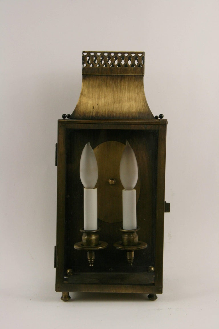 Pair of Nautical Lantern Sconces In Good Condition For Sale In Douglas Manor, NY