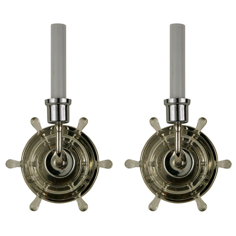 Pair of Mid Century Nautical Ships Wheel Sconces For Sale
