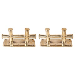 Pair of Nautical Solid Brass Ship's Double Sampson Post Cleats