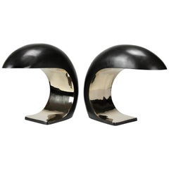 Pair of Nautilus Study Table Lamps in cast bronze by Christopher Kreiling