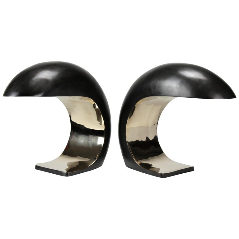 Pair of Nautilus Lamps in Bronze by Christopher Kreiling For Sale