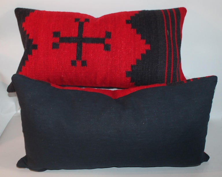 Hand-Crafted Pair of Navajo Indian Weaving Pillows For Sale