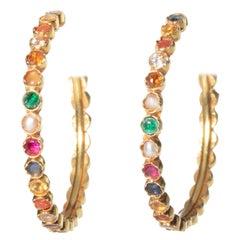 Pair of Navaratna 22 Karat Gold Hoops with Precious and Semi-Precious Stones