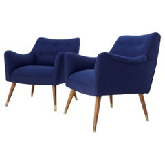 Pair of Navy Blue Mid-Century Modern Lounge Arm Chairs on Tapered Dowel Legs