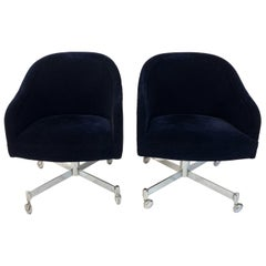 Pair of Navy Blue Mohair Executive Swivel Chairs by Ward Bennett