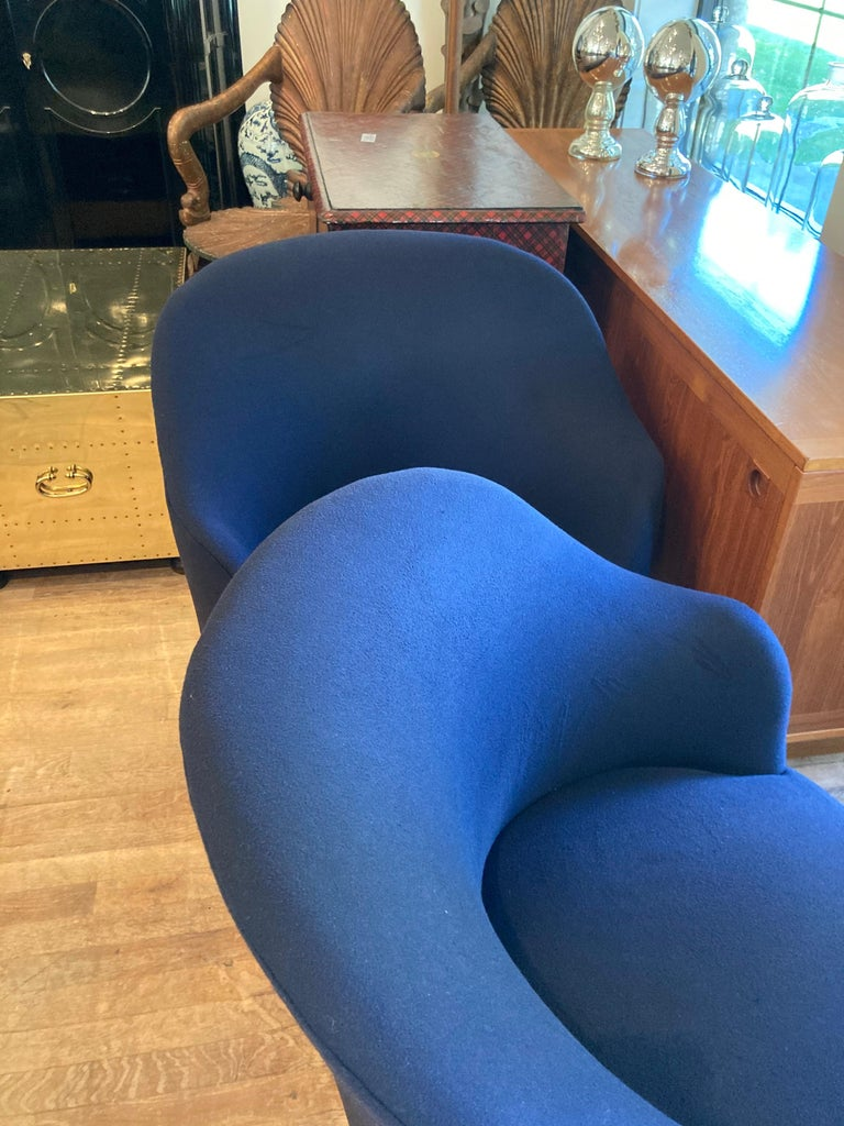 Pair of Navy Blue Upholstered Swivel Chairs For Sale 2