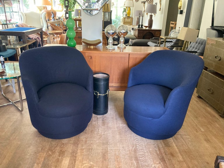 Pair of Navy Blue Upholstered Swivel Chairs For Sale 3