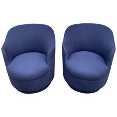 Pair of Navy Blue Upholstered Swivel Chairs