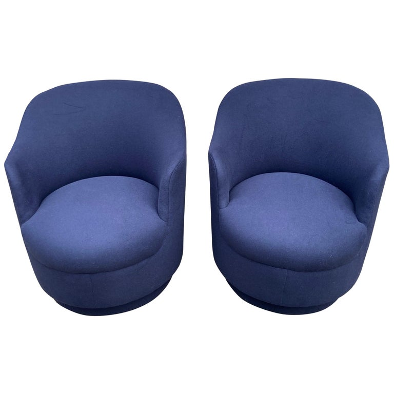 Pair of Navy Blue Upholstered Swivel Chairs For Sale