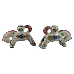 Pair of HB Quimper Horse Sculptures/Candle Holders