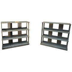 Pair of Industrial Wavy Metal Shelves circa 1920s by Strafor