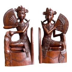 Pair of Near Antique Balinese Handcarved Wooden Bookends, Legong Dancers w. Fans