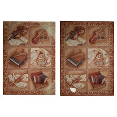 Pair of Needlepoint Tapestries Carpet, Handwoven Musical Themed Rug