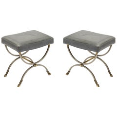 Pair of Neoclassic Ottomans by Maison Charles