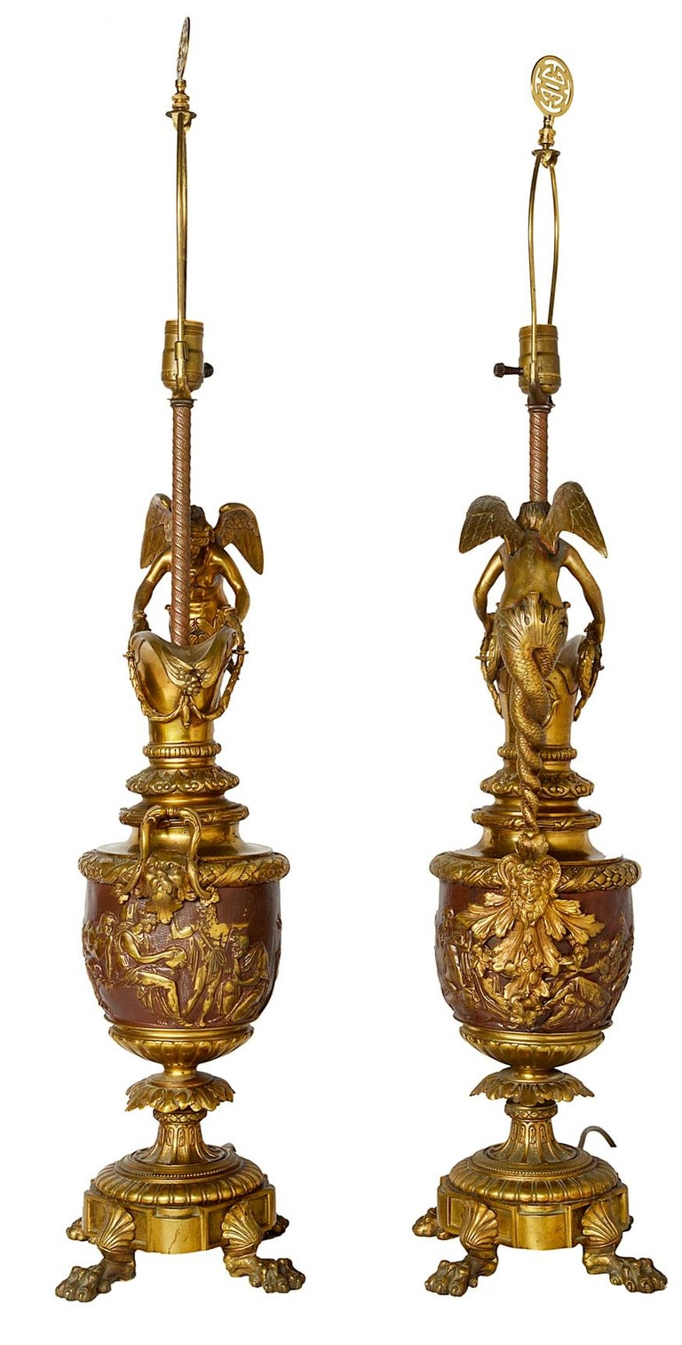 Neoclassical Revival Pair of Neoclassical Bronze Ewer Lamps, 19th Century For Sale