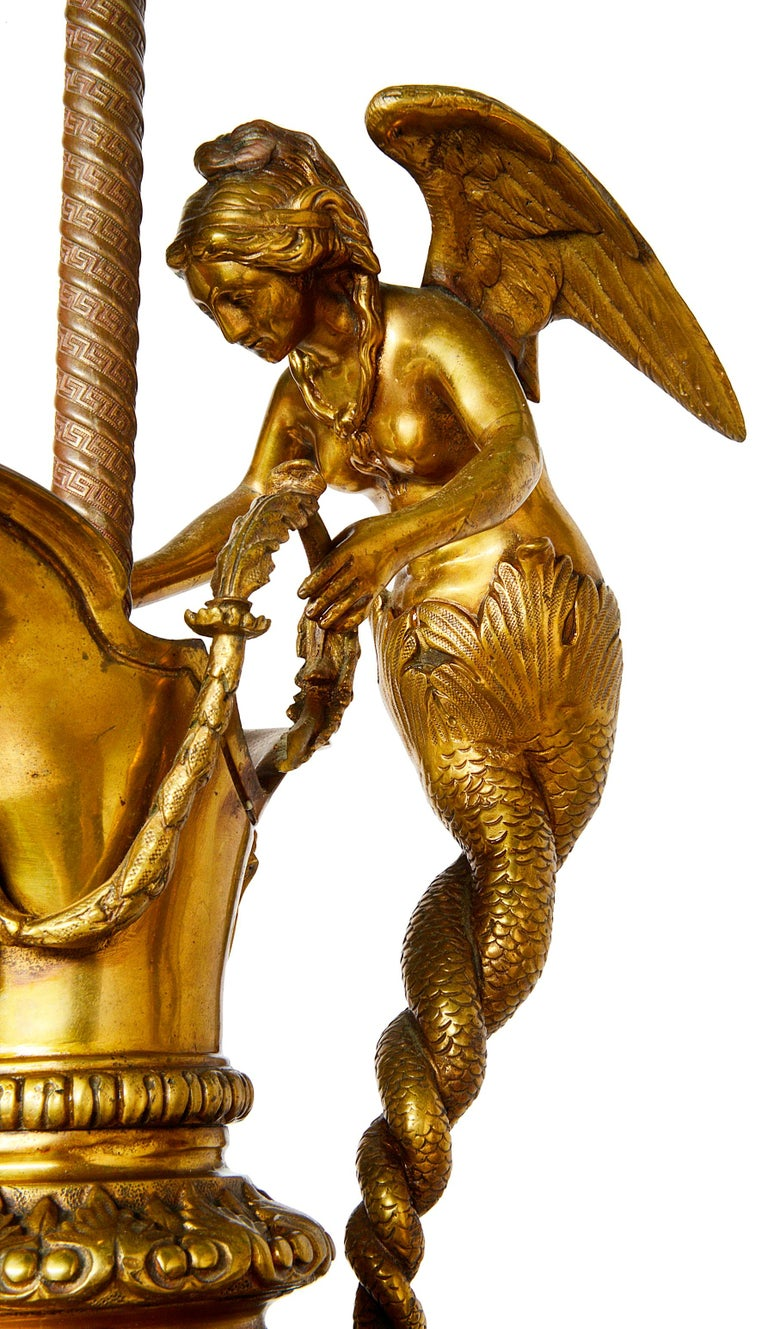 French Pair of Neoclassical Bronze Ewer Lamps, 19th Century For Sale
