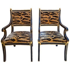 Pair of Neo-Classical Style Bergère Chairs by Jerry Pair for Formations