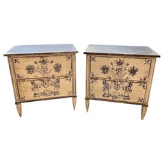 Pair of Neo-Classical Style French Painted Bed Side Tables